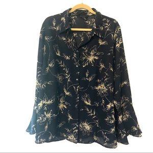 Lane Bryant flower pattern blouse w/ bell sleeves